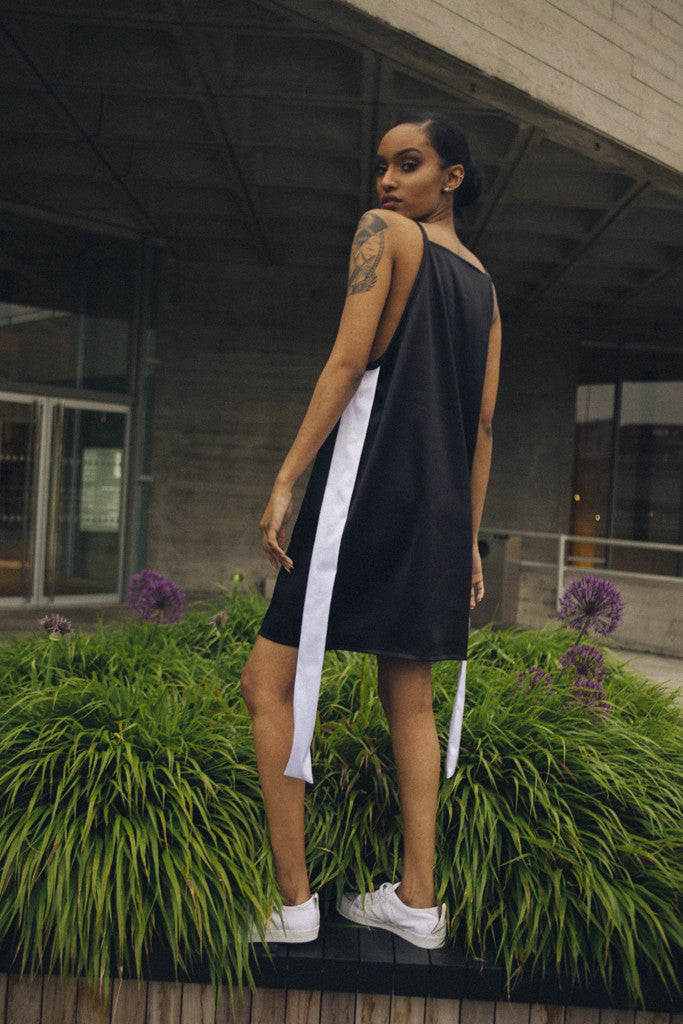 Monochrome High Neck Mini Dress