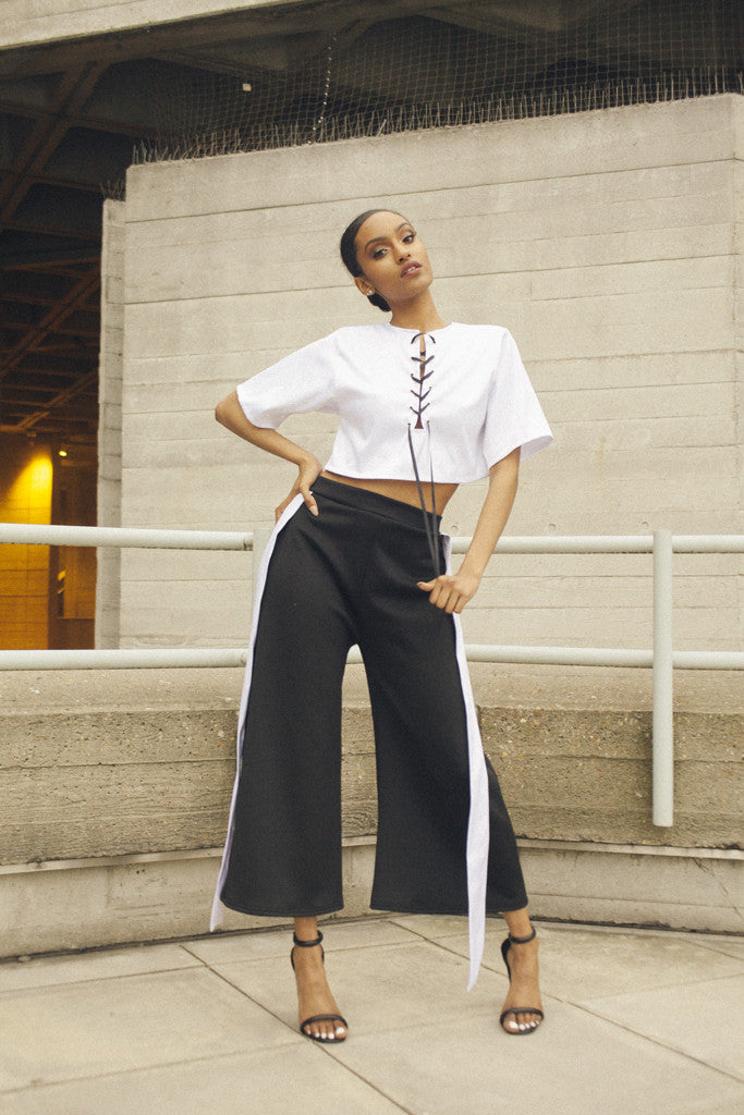 Black and White Flared Trousers by One Boutique