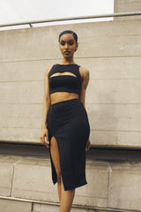 Black Midi Skirt by One Boutique