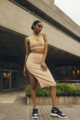 Black & Mocha Slit Midi Skirt by One Boutique - Biher Tewelde