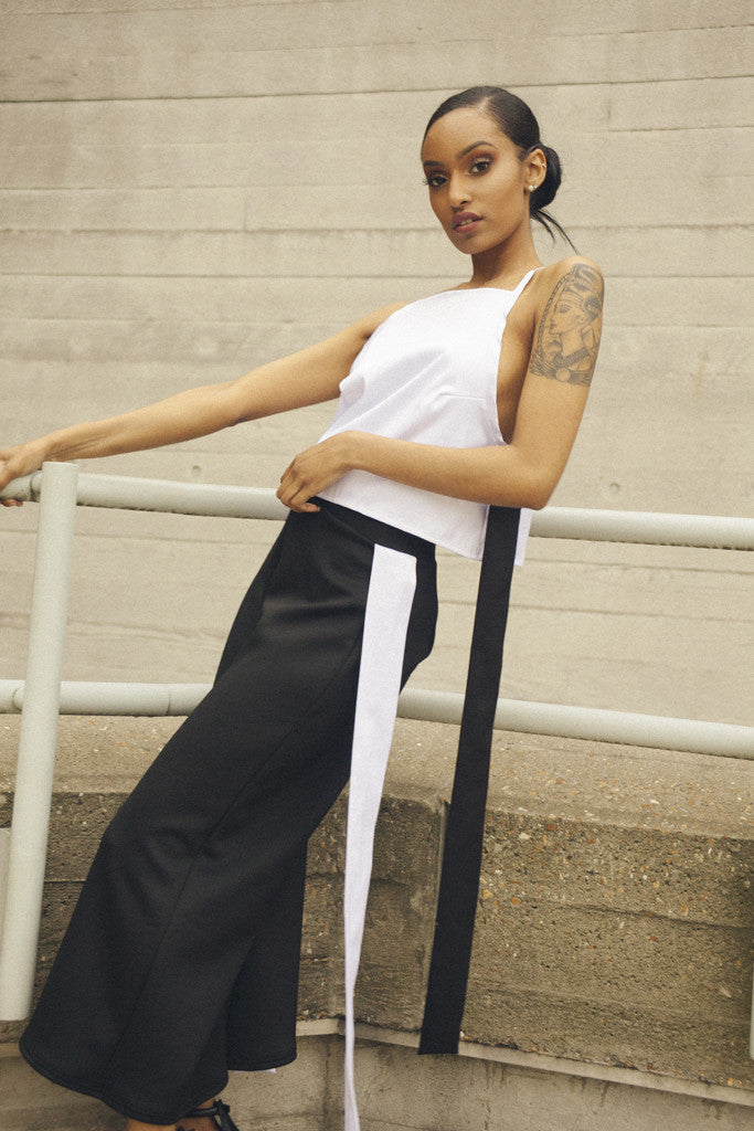 White & Black Satin Crop Top by One Boutique