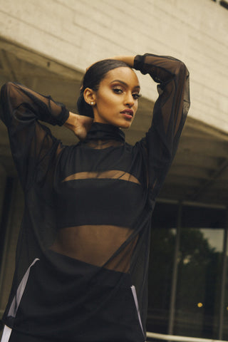 Oversized Black Mesh Jumper - Biher Tewelde - One Boutique