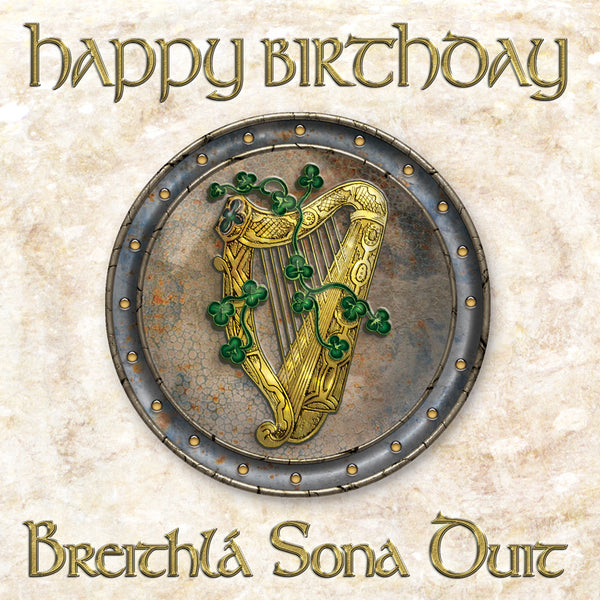 C241 Celtic Harp Birthday Card