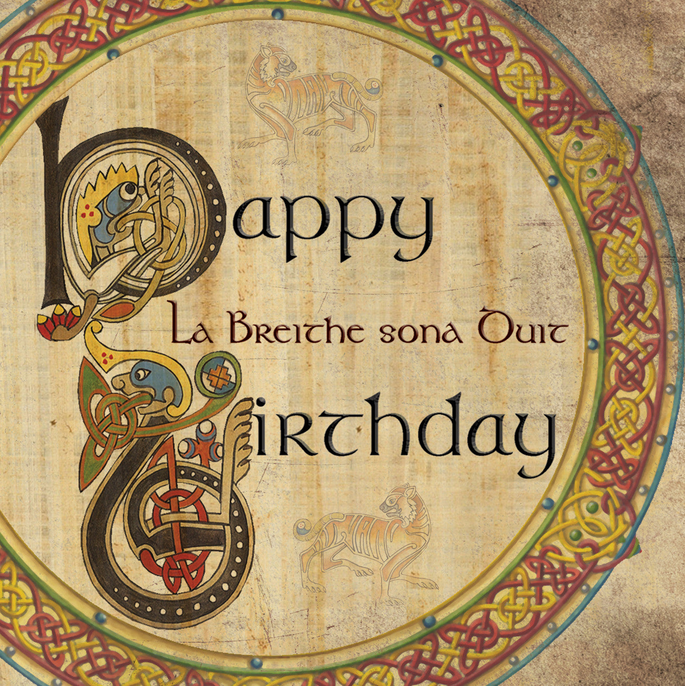 C502 Celtic Birthday Bilingual Irish Greeting Card Rachel Arbuckle
