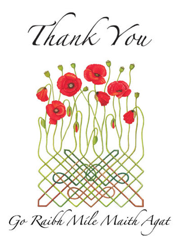CNC06 Celtic Poppy Thank you Notecards