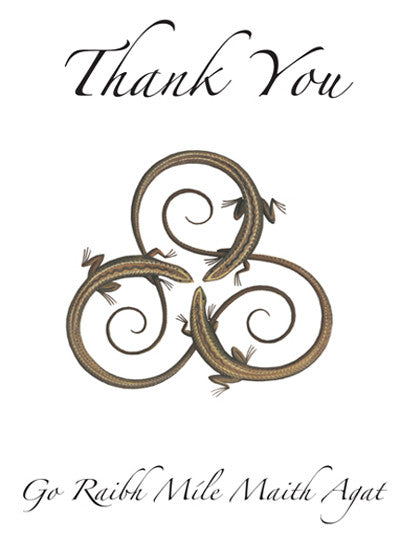 CNC09 Spiral Lizards Thank You Notecards