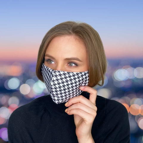 FACE MASK Black & White Houndstooth - MULTI-PURPOSE MASK
