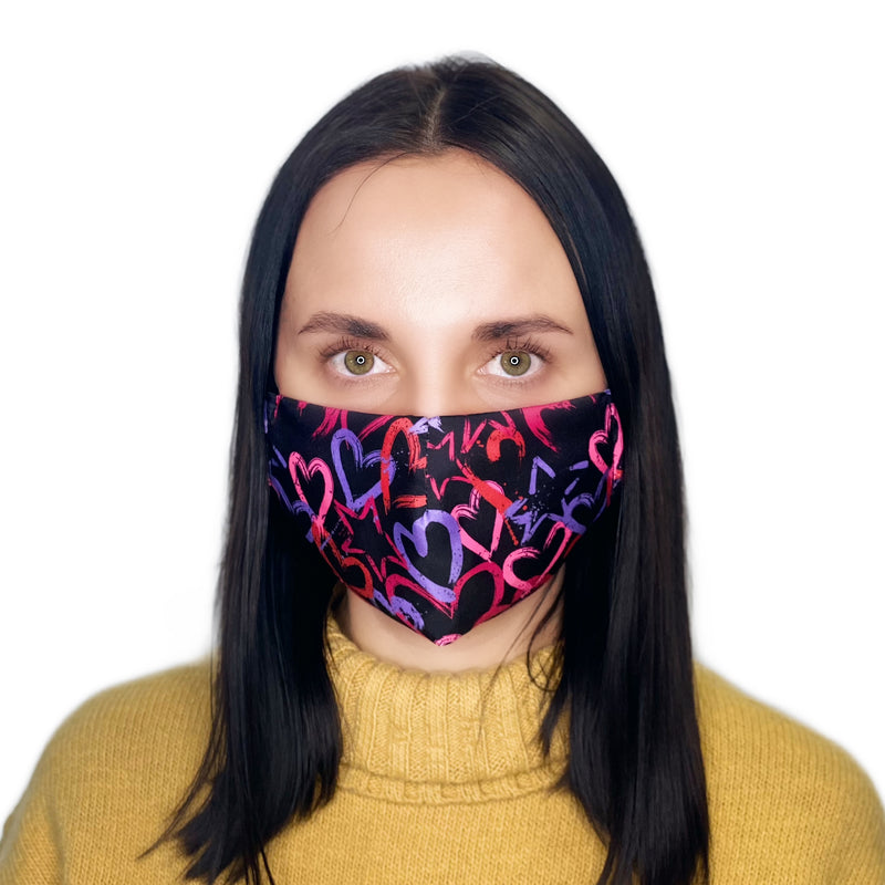 2-LAYERED FACE MASK Fluo Hearts - FACEWEAR