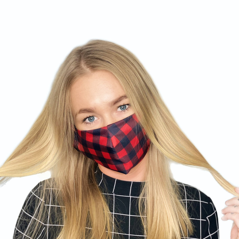 2-LAYERED FACE MASK Black/Red Check - FACEWEAR
