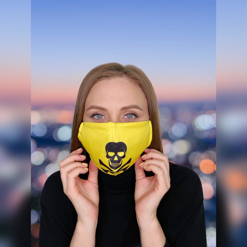 FACE MASK Pirate Skull Yellow - FACEWEAR