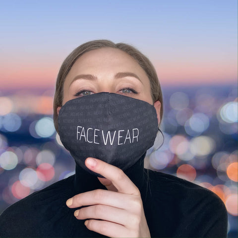 FACE MASK FaceWear Logo BLACK - FACE MASK