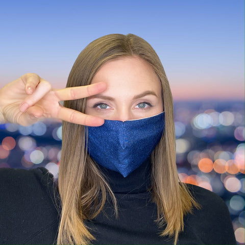 FACE MASK Denim Blue - MULTI-PURPOSE MASK WITH F9 ePm1 FILTER