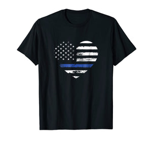Thin Blue Line Heart Flag Police Officer Support T Shirt