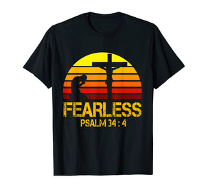 Retro Vintage Fearless In Psalm 34:4 Tshirt For Christians