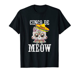 Cinco De Meow! Sugar Skull Mexican Cat T-Shirt