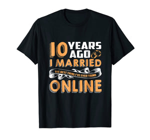 Anniversary Gift T-Shirt For 10 Years Marriage Couple Tee.