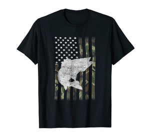 Camouflage Flag Walleye Fishing Angler Tshirt