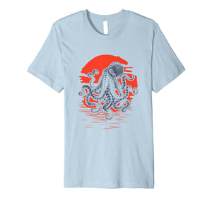 Sunrise Octopus T-Shirt Throwback Retro Vintage Surfer Tee