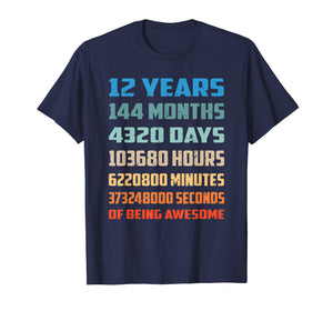 12th Birthday Gift T Shirt 12 Years Old Being Awesome Shirt