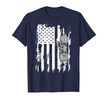 Ladda upp bild till gallerivisning, Vintage Retro Motorcycle T-Shirt Detailed With American Flag