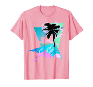 Vaporwave Shirt Aesthetic 80'S Throwback Dolphin Palm Tropic