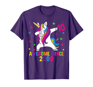 10th Birthday T Shirt Dabbing Unicorn Awesome Since 2009