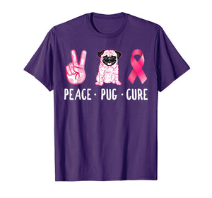 Peace Cure Pug Breast Cancer Awareness Gifts T-Shirt