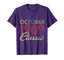Ladda upp bild till gallerivisning, Classic October 1989 Bday Men Women Gifts 30th Birthday T-Shirt 454772