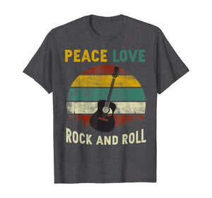 Peace Love Rock And Roll Guitar Retro Vintage T-Shirt 215928