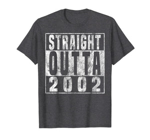 Straight Outta 2002 17th Birthday Gift T-Shirt 17 years old 226782
