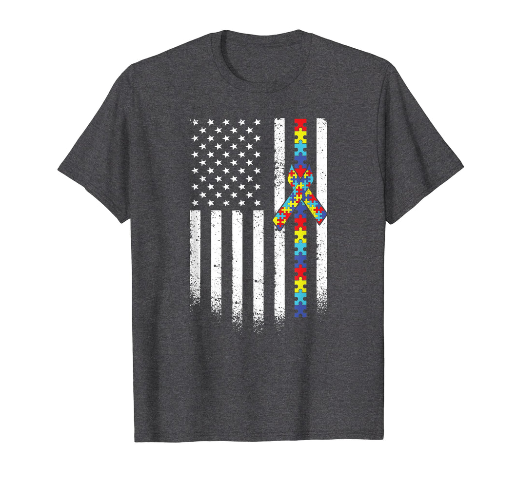 Autism American Flag Puzzle Autism Awareness Gift T-Shirt