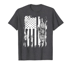 Vintage Retro Motorcycle T-Shirt Detailed With American Flag