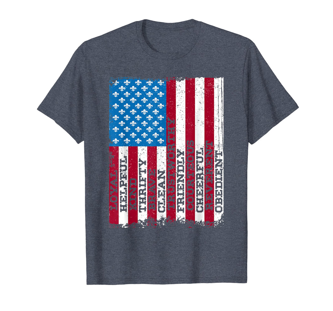 Scout Law Patriotic Scouting Lover Us Flag Boy Girl T-Shirt