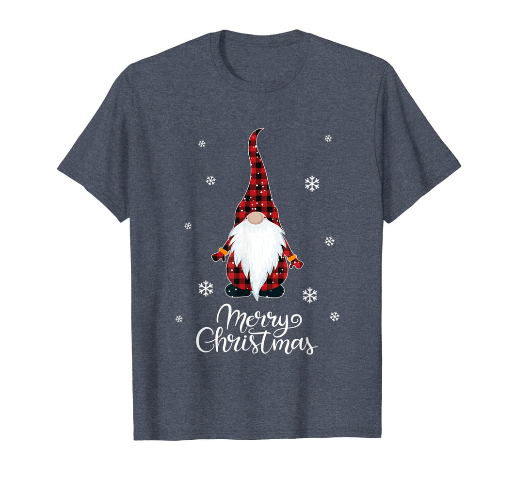 Santa Claus Garden Gnome Merry Christmas buffalo Plaid T-Shirt 445223