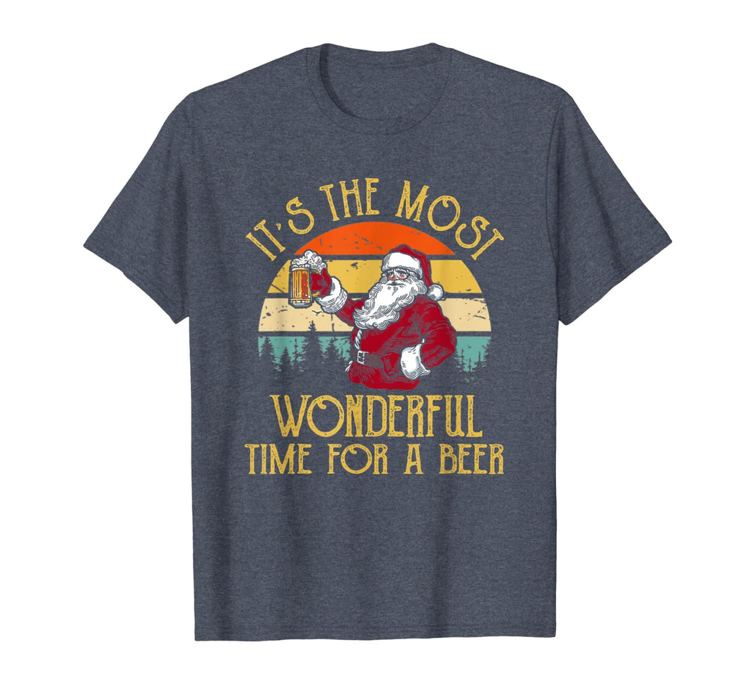 Vintage Santa Claus It's The Most Wonderful Time For A Beer T-Shirt 220340