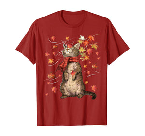Funny Cat Leaf Fall Hello Autumn Funny Cat Kitten Lover Gift T-Shirt 156504