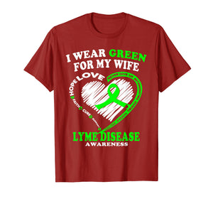 Funny shirts V-neck Tank top Hoodie sweatshirt usa uk au ca gifts for Lyme Disease Awareness Shirt - I Wear Green For My Wife 2996282