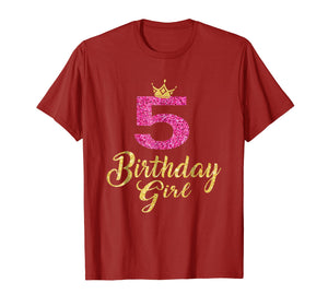 5th Birthday Girl Princess Shirt 5 Years Old 5th Birthday