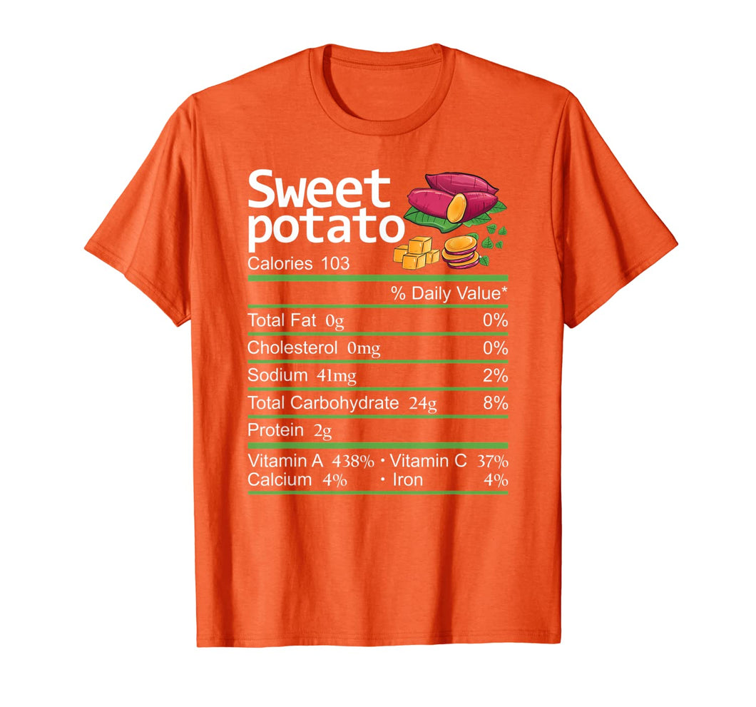 Sweet Potato Nutrition Facts Thanksgiving Costume Christmas T-Shirt