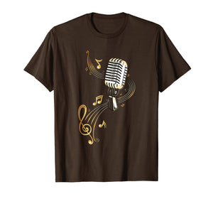 Funny shirts V-neck Tank top Hoodie sweatshirt usa uk au ca gifts for Microphone Shirt with Music Notes and Clef. Musician. Gold. 2586656