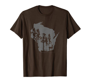 Proud Wisconsin Deer Hunter State Map Outline T-Shirt 30819258