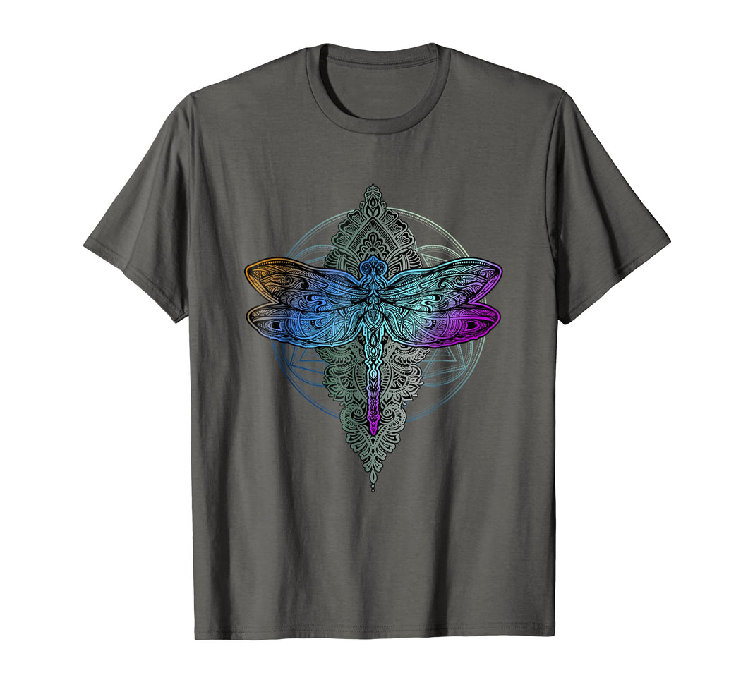 Colorful Mandala Dragonfly T-Shirt - Lotus Flower Tee