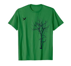 Tree And Bird T-Shirt Nature Black Graphic Tee