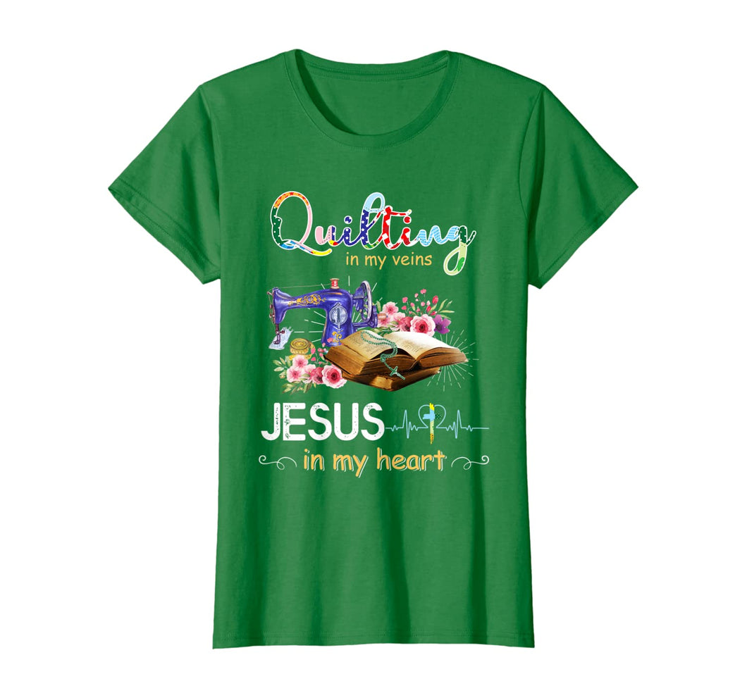 quilting in my veins jesus in my heart shirt T-Shirt 264677