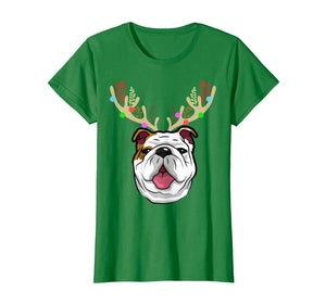 XMAS Funny Bulldogs with Antlers Christmas T Shirt Xmas Tee T-Shirt 292193
