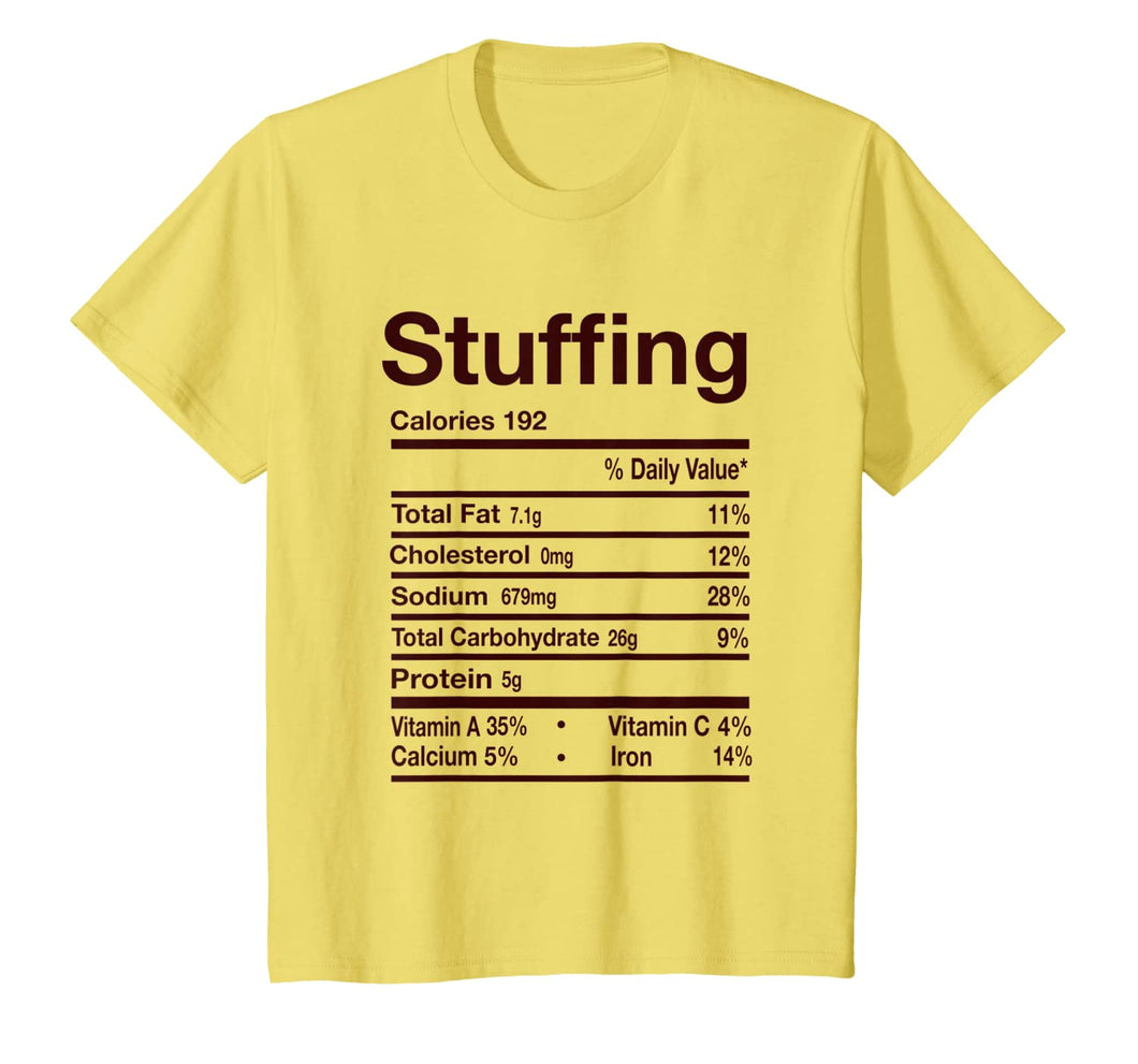 Funny Stuffing Nutrition Facts Thanksgiving Costume Matching T-Shirt 429413