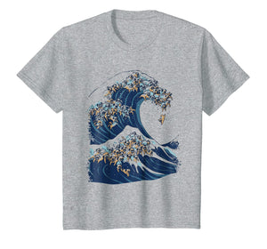 The Great Wave Of Pugs Funny T- Shirt By Huebucket