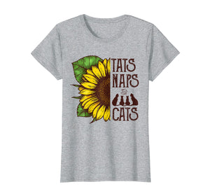 Sunflower Tats Naps And Cats T-Shirt For Cats Lover