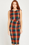 RUST MULTI CHECK RUCHED DRESS