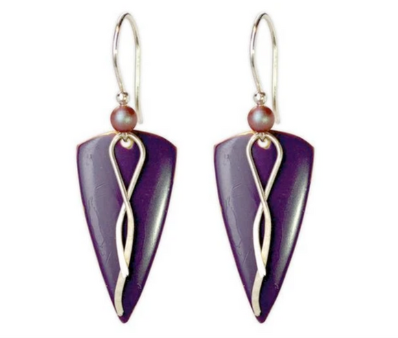 Arbor Gates Earring Collection: Purple Triangle with Silver and Squiggle and Bead